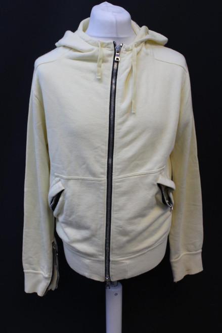 BALMAIN Men's Yellow Cotton Hooded Long Sleeve Zip Up Hoodie Jumper Size L