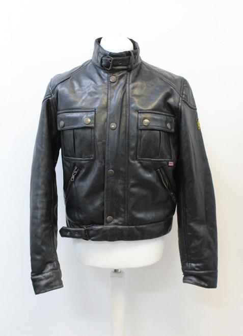 BELSTAFF Men's Black PVC Collared Long Sleeve Fleece Lined Biker Jacket L