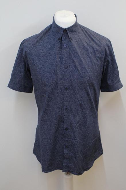 ALEXANDER MCQUEEN Men's Navy Blue Cotton Short Sleeve Shirt Size IT52 UK42