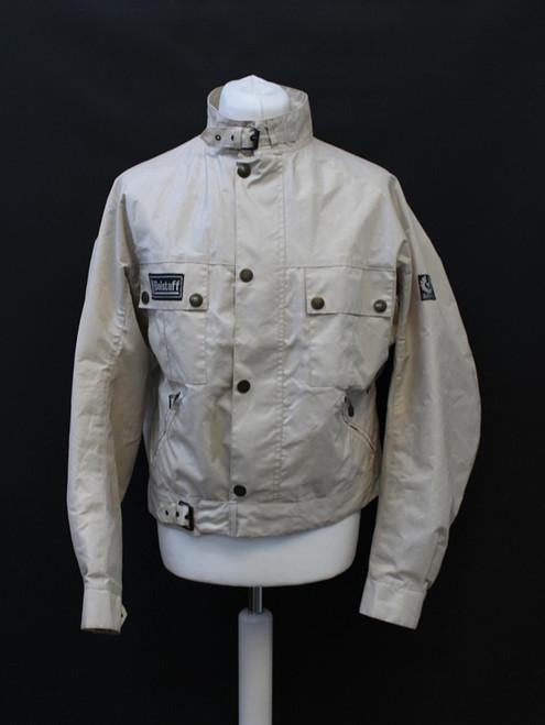 BELSTAFF Men's Pale Grey Long Sleeve Zip & Popper Button Biker Jacket Size L
