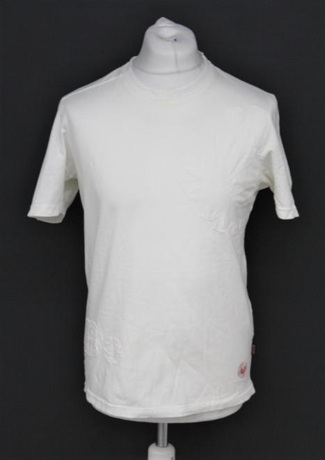 BELSTAFF Men's White Cotton Round Neck Short Sleeve Embossed Logo T-Shirt M