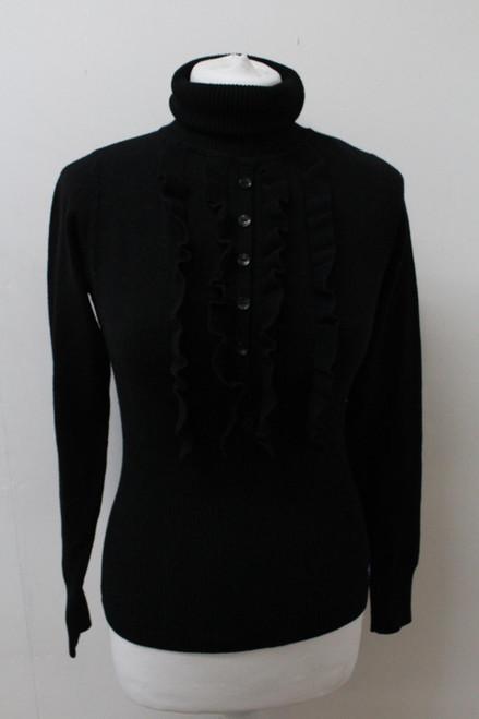 BURBERRY Ladies Black Wool Turtle Ruffle Neck Long Sleeve Knit Sweater Size S
