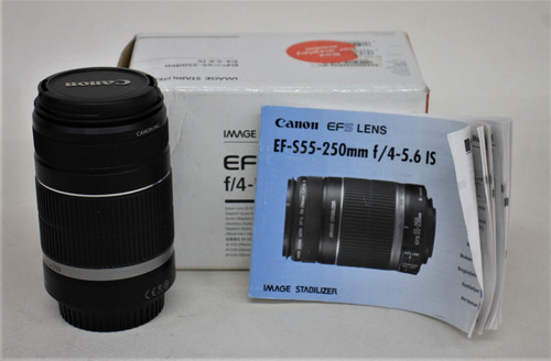CANON EF-S 55-250mm f/4-5.6 Mark 1 IS Image Stabilizer Zoom Lens w/Box & Caps