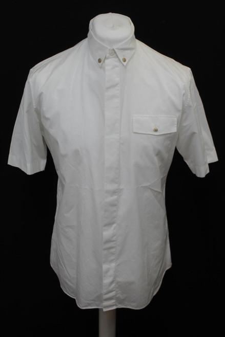 "DIOR Men's White Cotton Short Sleeve Button Down Collared Shirt Size 16"""