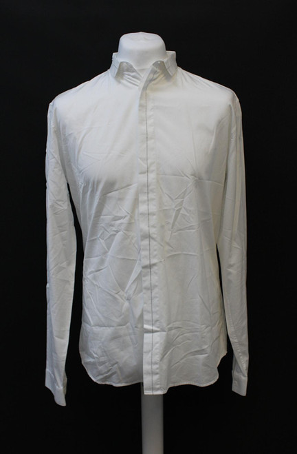 DIOR Men's White Collared Long Sleeve Grey Trims Button Up Cotton Shirt 41/L