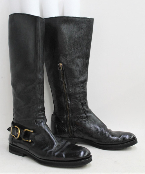 BURBERRY Ladies Black Textured Leather Calf High Side Zip Biker Boots Approx UK5