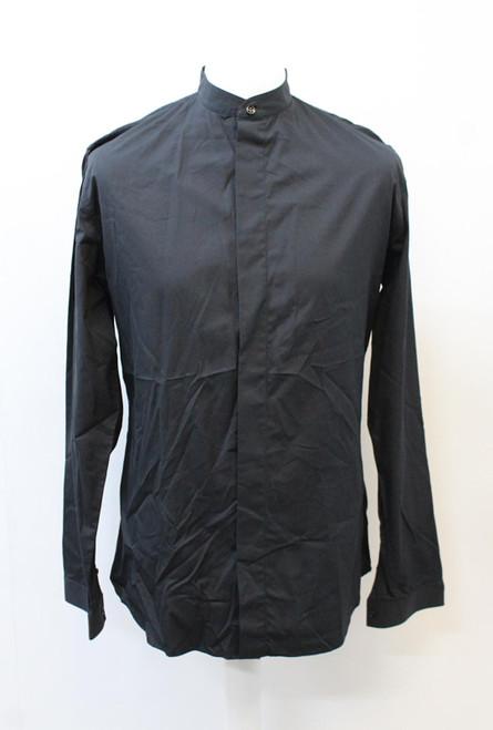 DIOR Men's Dark Navy Blue Cotton Collared Long Sleeve Hidden Button Shirt 41/L