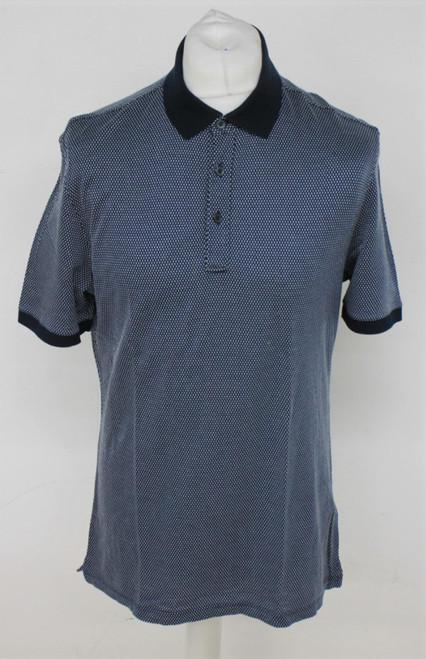 ERMENEGILDO ZEGNA Men's Blue 100% Cotton Short Sleeve Collared Polo Shirt Size L