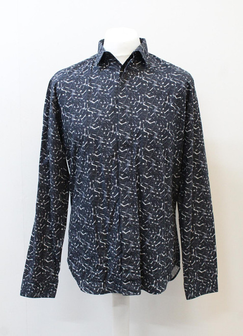 DIOR Men's Navy Blue White Printed Long Sleeve Button Up Cotton Shirt 41/L