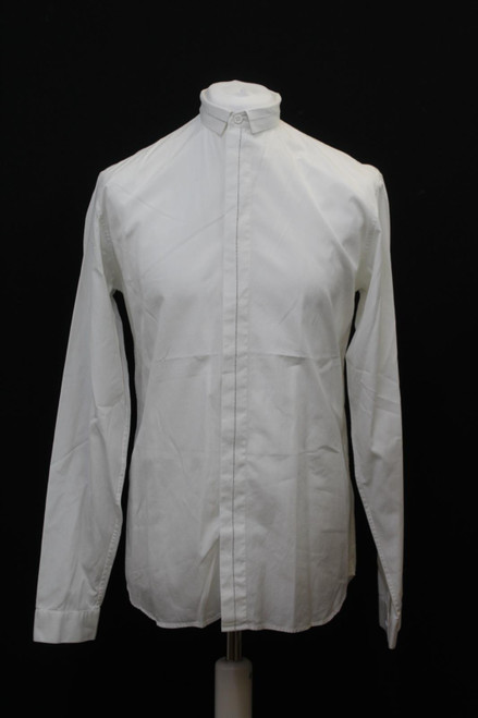 """DIOR Men's White Cotton Long Sleeve Collared Buttoned Shirt Size 15.75"""" Neck"""