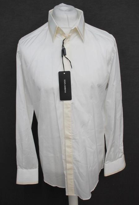 "DOLCE & GABBANA Gold Men's Silk Cotton Ivory/White Striped Shirt 16.5"" BNWT"