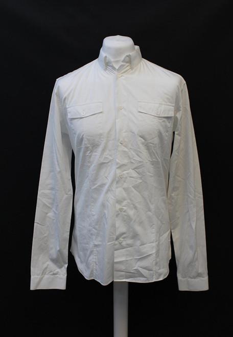 DIOR Men's White Collared Long Sleeve Button Down Cotton Shirt w Pockets 40/M