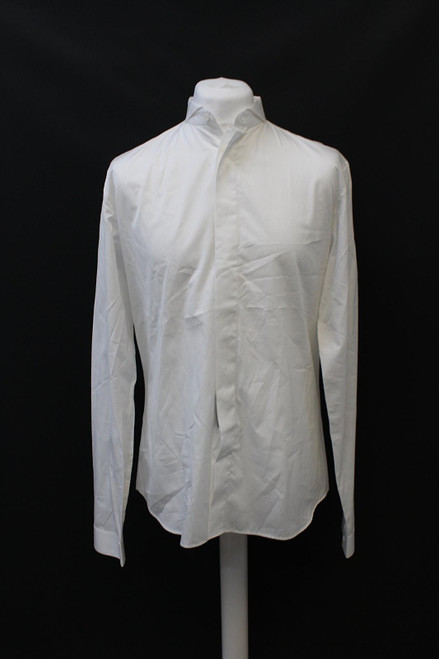 DIOR Men's White Long Sleeve Folded Collar Button Front Cotton Shirt 41/L NEW