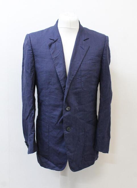CHRISTIAN DIOR Men's Navy Blue Single Breasted Linen Blazer Jacket IT50R UK40