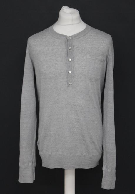 DOLCE & GABANNA Men's Grey Linen Blend Long Sleeve Button Neck Top Approx. L