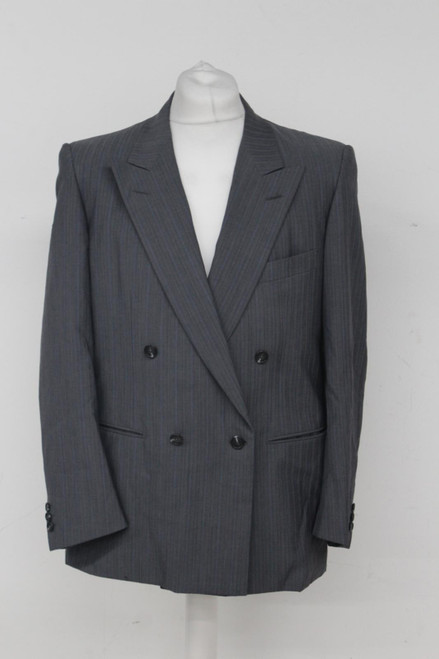 CHRISTIAN DIOR Men's Grey Blue Wool Striped Double Breasted Suit Jacket UK42