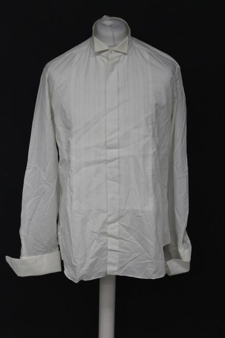 "CHRISTIAN DIOR Men's White Ivory Cotton Striped Formal Dress Shirt 16.5"" FR42"