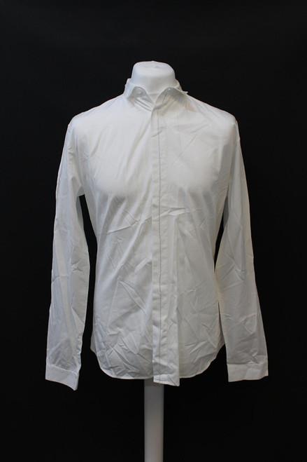 DIOR Men's White Long Sleeve Grey Trim Hidden Button Cotton Shirt Size 41/L