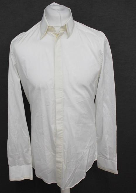 "DOLCE & GABBANA Gold Men's Silk Cotton Ivory/White Striped Shirt Size 16"" Neck"
