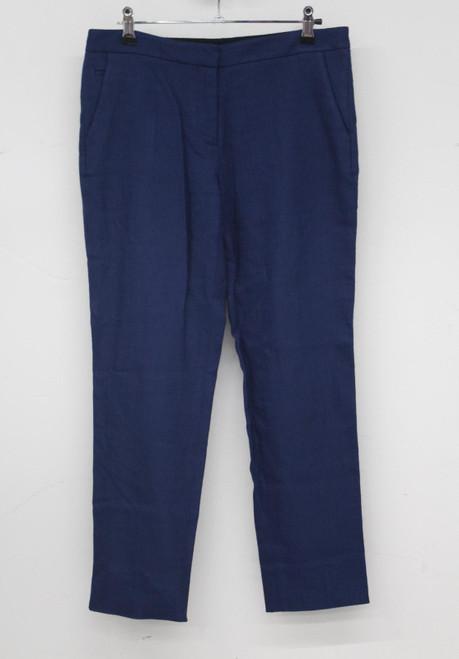 DIANE VON FURSTENBERG Ladies Azure Blue Cropped Casual Trousers UK10 W30 L26