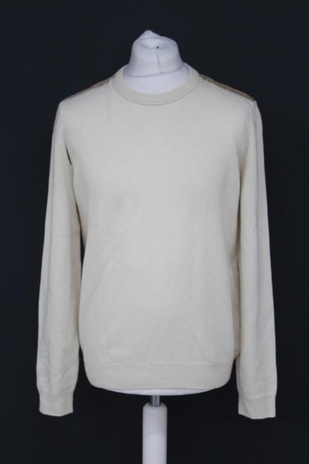 GUCCI Men's Beige Cream Cashmere Blend Suede Shoulder Panel Pullover Jumper XL