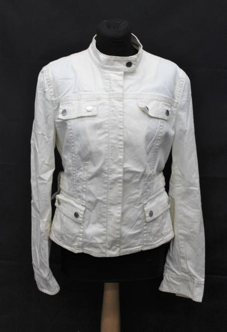 HUGO BOSS Ladies Beige Cotton Blend Long Sleeve Zip Front Biker Jacket Size L