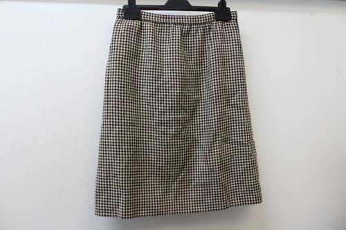 LANVIN Ladies Brown & Beige Houndstooth High Rise Back Zip A-Line Skirt W28