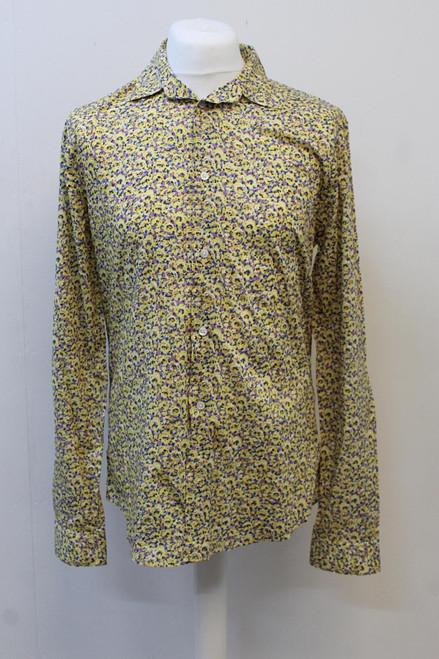 LOUIS VUITTON Men's Yellow Abstract Floral Print Long Sleeve Button Up Shirt L