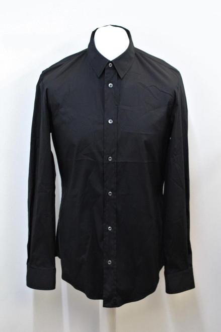 MAISON MARTIN MARGIELA Men's Black Stretch Cotton Long Sleeve Shirt IT52 UK42
