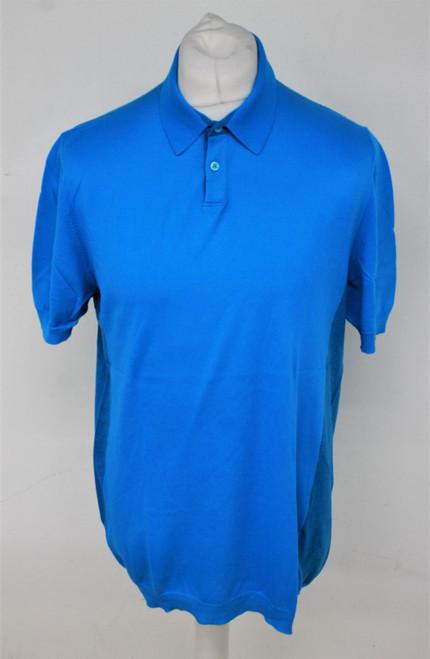 JIL SANDER Men's Blue 100% Cotton Short Sleeve Collared Polo Shirt Size L