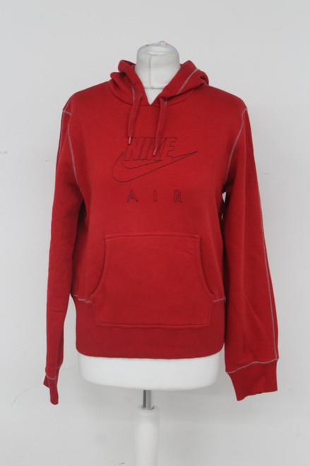 NIKE Air Ladies Red Cotton Blend Long Sleeve Pullover Hoodie Sweatshirt UK14/16