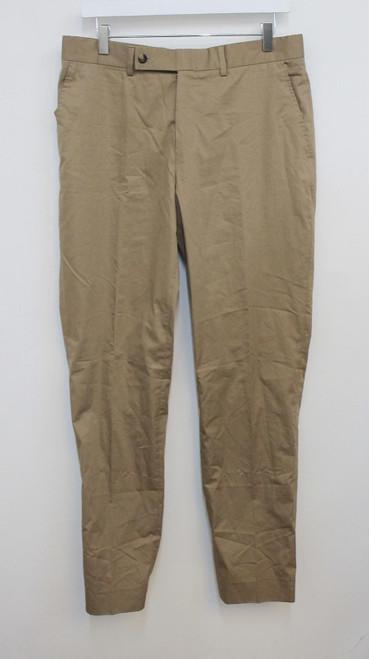 YVES SAINT LAURENT Men's Beige Cotton Blend Pleated Leg Trousers IT46R W32 L33