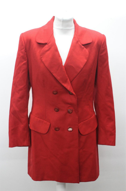 VALENTINO Ladies Apple Red Double Breasted Collared Longline Jacket Approx. M