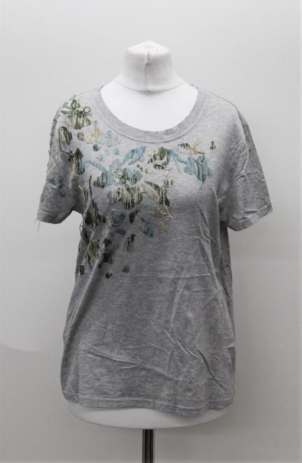 VALENTINO Ladies Grey Abstract Stitch Detail Round Neck T-Shirt Approx M