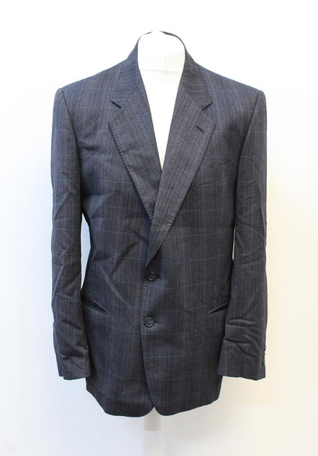 VALENTINO Men's Dark Grey/Blue Check Single Breasted Suit Jacket Approx. UK44