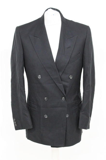 VALENTINO Men's Black Double Breasted Long Sleeve Peak Lapel Jacket Approx L
