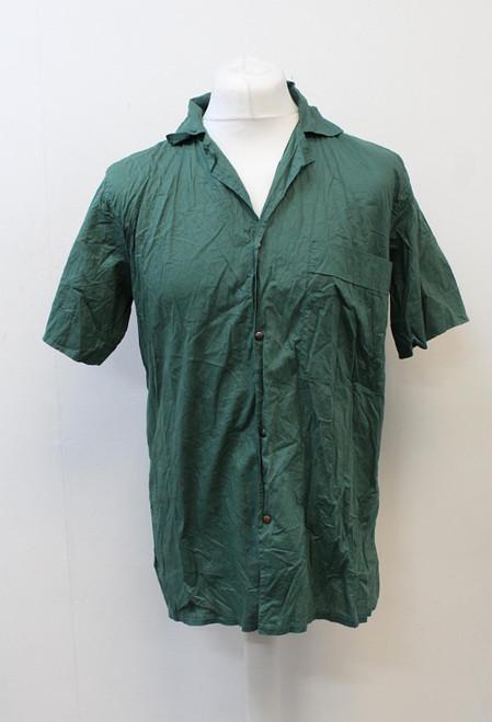 YVES SAINT LAURENT Green Short Sleeve Snap Button Casual Shirt Size 48/L