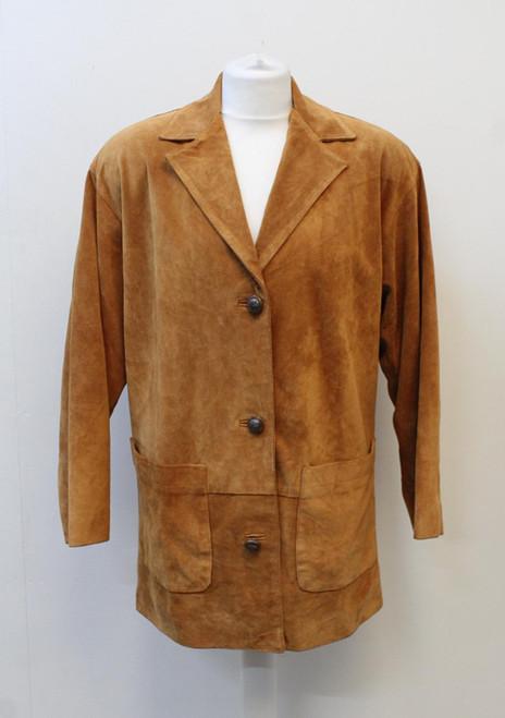 VALENTINO Ladies Pelle Collection Tan Brown Suede 3/4 Sleeve Jacket IT42 UK10