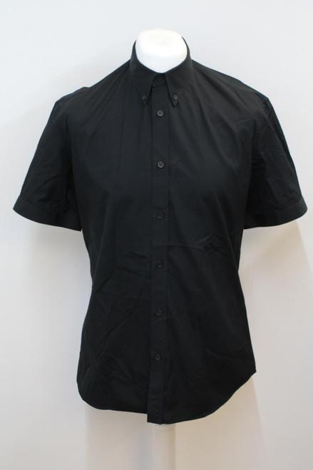 ALEXANDER MCQUEEN Men's Black Cotton Short Sleeve Button Down Shirt IT52 UK42