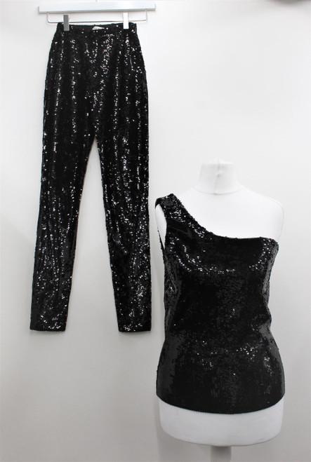 SAINT LAURENT Ladies Black Sequin Two Piece One-Shoulder Top & Trousers Size S/M