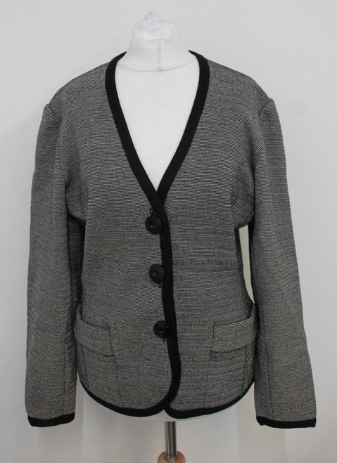 YVES SAINT LAURENT Ladies Grey/Black Fine Merino Wool Blazer Jacket IT40 UK8
