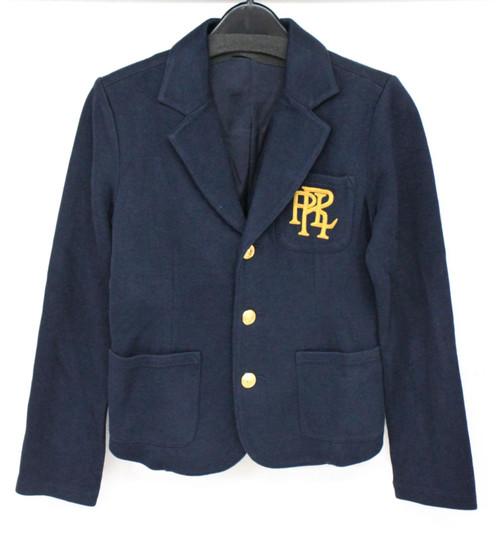 RALPH LAUREN Boys Navy Blue Cotton Blend Logo Blazer Jacket Size M (8-10) NEW