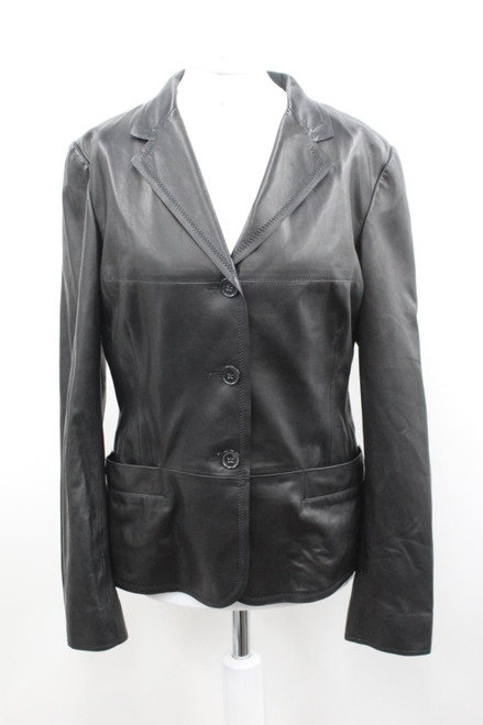 JIL SANDER Ladies Black Leather Long Sleeve Button Up Collared Jacket UK12