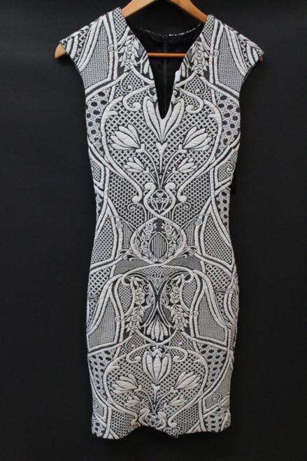 TED BAKER Ladies Black & White Floral Pattern V Neck Sleeveless Dress Size S