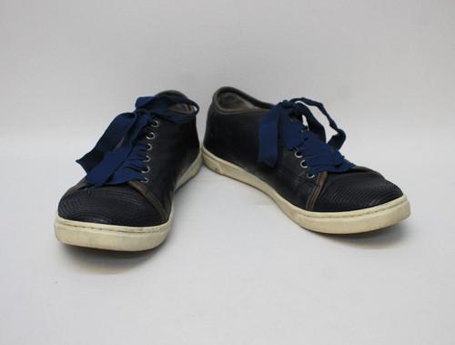 LANVIN Ladies Navy Blue Leather Ribbon Lace Up Low Trainer Shoes EU38 UK5