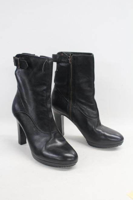 PAUL SMITH Ladies Black Leather Side Zip Block Heel Ankle Boots EU39 UK6