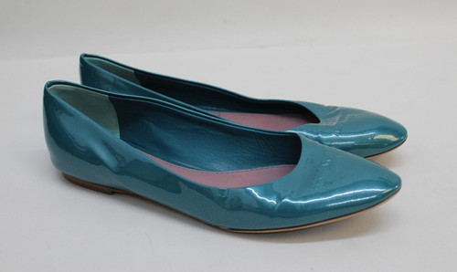 LOUIS VUITTON Ladies Teal Blue Patent Leather Pointed Toe Flat Shoes UK6 EU39