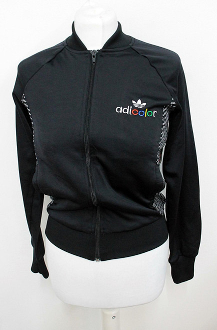 ADIDAS Adicolor Ladies Black BK5 Black Series Zipper Cardigan Sweatshirt UK10