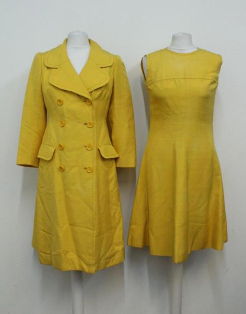 CHRISTIAN DIOR Ladies Vintage 60s Couture Yellow Linen Coat & Dress Ensemble UK8