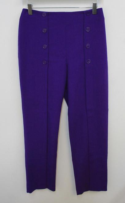 ALEXANDER MCQUEEN Ladies Deep Purple Button Front Pleated Trousers IT42 UK10